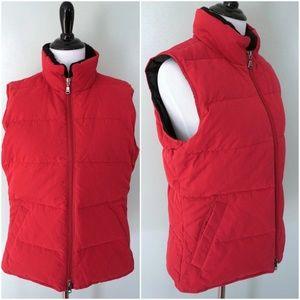 EDDIE BAUER Red Quilted Goose Down Puffer Vest S